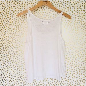 Lou & Grey Tops - Lou & grey linen white tank top shirt Small